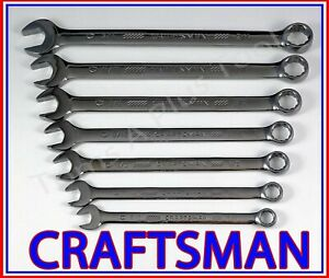Craftsman Hand Tools 7pc Gunmetal Chrome Sae 12pt Combination Wrench Set