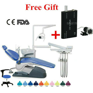 Dental Computer Controlled Unit Chair Hard Leather With Stool Fad Ce Headligh