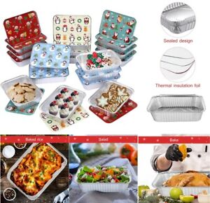 20pcs Christmas Foil Trays Bbq Disposable Food Container Baking Pan With Lids Us