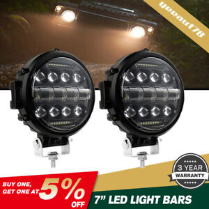 2x7 Inch Round Led Work Lights Combo Drl For Jeep Bumper Truck Boat 4wd Off Road