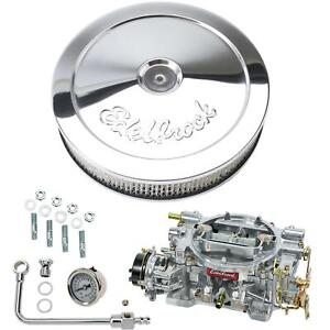 Edelbrock 1406 Performer 600 Cfm Elect Carb air fuel Kit pro flo