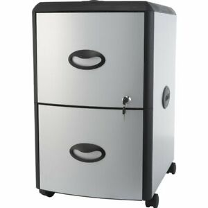 Storex 2 drawer Vertical Filing Cabinet Black