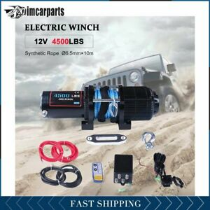 1x Electric Winch Synthetic Rope 4500lb 12v Tow Towing Truck Trailer W Remote