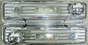 Sbc Vintage Chrome Finned Aluminum Valve Covers Breathers Rat Hot Rod Parts