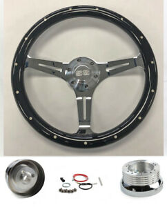 67 68 Chevelle El Camino Nova Black Wood On Chrome Steering Wheel 15 Ss Cap