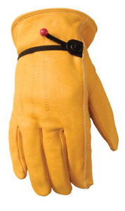 Mens Leather Work Gloves With Adjustable Wrist Large Wells Lamont 1132l