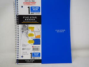 Five Star Spiral Notebook 1 Subject College Ruled Paper 100 Sheets 11 X