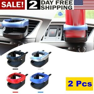 2x Potable Air Vent Clip On Mount Water Bottle Stand Black Car Drink Cup Holder