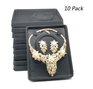 10pc Black Velvet Plastic Earrings Necklace Showcase Jewelry Display Tray Holder