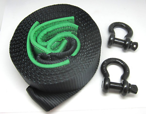 Rhino Usa Recovery Tow Strap 3 X 30ft D Ring Shackle Set 2 Rings