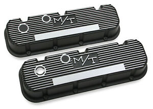 Holley 241 85 Mickey Thompson Black Wrinkle Valve Covers M t Big Block Chevy