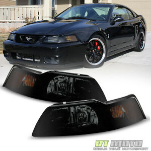 Black Smoked 1pc 1999 2000 2001 2002 2003 2004 Ford Mustang Headlights Headlamps