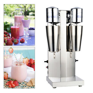 110v Commercial Milk Shake Machine Stainless Steel Double Head Drink Mixer Used