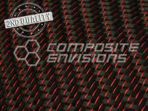 2nd Quality Red Reflections Carbon Fiber Fabric 2x2 Twill 3k 50 5 9oz 200gsm