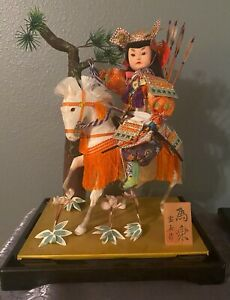 Japanese Antique Armed Samurai Warrior Horse Riding Doll