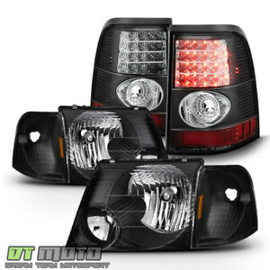 Blk 2002 2005 Ford Explorer Headlights Lumileds Led Tail Lights Lamps Left Right