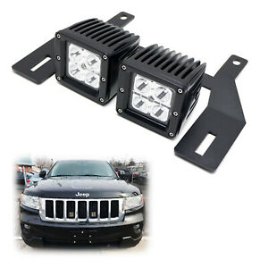 Behind Grille Mount Led Pod Light Kit W brackets Wiring For Jeep Grand Cherokee