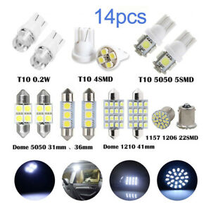 T10 Led Light Car Bulbs 14 Pcs Auto Lamp For Interior Dome Map Set Inside White
