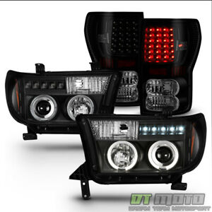 For 2007 2013 Toyota Tundra Led Projector Headlights black Smoke Led Tail Lamps