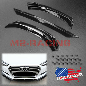For 2017 2019 Audi A3 S3 Glossy Look Front Bumper Body Kit Spoiler Lip 3pcs