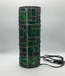 Vintage 50 S Lamp With Stained Glass Green And Orange Buffered Merot