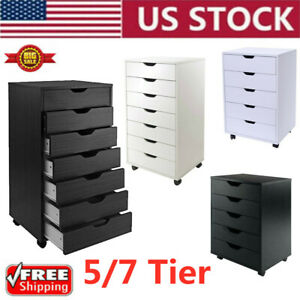 5 7 Tier Drawer Rolling Filing Cabinets Office Holder Document Storage Organizer