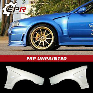 For Nissan Skyline R34 Gtr Do style Frp Unpainted Vented Front Fender Guard 2pcs