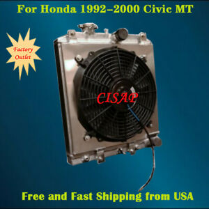 For Honda 1992 2000 Civic Aluminum Radiator With Shroud And Fan Kit 2rows Mt