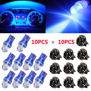 10pcs Blue T10 168 Led Bulb Car Instrument Panel Cluster Dash Light 10 Sockets