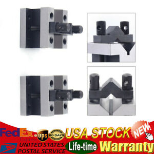 Precision Cast Iron Vee Blocks Metalworking Matched Pair W clamp V block Premium