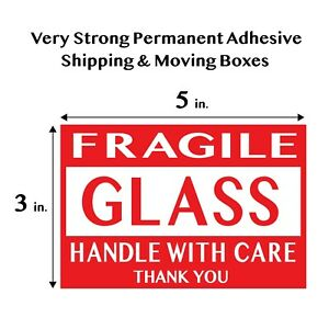 Fragile Glass Handle With Care Thank You Red Shipping Labels Large 3 x5