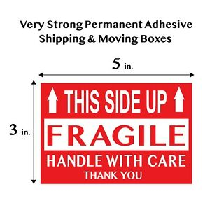 Fragile This Side Up Handle With Care Thank You Red Warning Label Large 3 x5