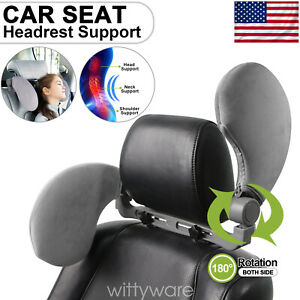 Adjustable Car Seat Pillow Headrest Travel Neck Support For Kids Adults Gray Us
