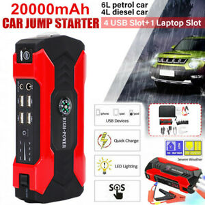 Car Jump Starter 20000mah Portable Charger Power Bank With Led Flash Light Usa