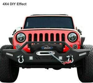 Front Bumper For 2007 2018 Jeep Wrangler Jk Unlimited With 4 X Led Lights