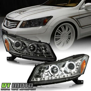 For Smoked 2008 2012 Honda Accord Sedan Projector Headlights W led Running Lamps