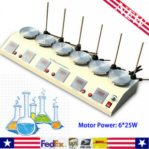 6 Units Head Hot Plate Magnetic Stirrer Lab Heating Mixer No Noise vibration Usa