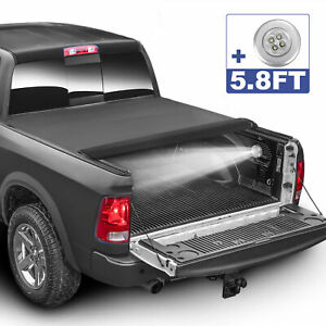 Roll Up 5 8 Ft Bed Soft Truck Tonneau Cover For 09 20 Dodge Ram 1500 Crew Cab