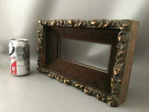 Antique Shabby Vtg Chic Gold Gilt Wood Gesso Velvet Wall Small Picture Frame