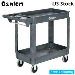 Industrial Service Utility Cart 2 Shelves Rolling Push Handle 500 Lbs Capacity
