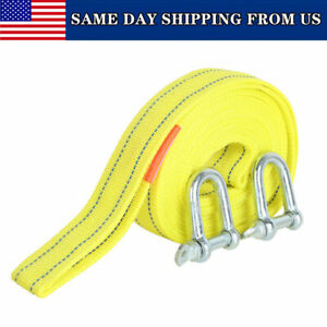 Heavy Duty 5 Tons Car Tow Rope Cable Towing Strap With Hooks For Emergency 13 Ft