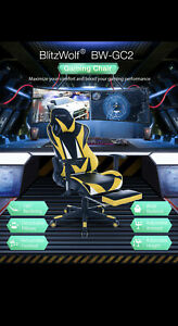 Pro Style Reclining 4d Adjustable Gaming Chair With Arm Rest Cushion Foot Rest