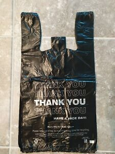 Thank You Black T shirt Bags 11 5 x 6 5 x 20 5 Plastic Shopping Bag 100 1000