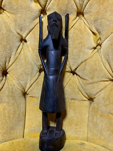 Antique Asian Figurine Statue Chinese Taiwanese Japanese Wood Man Hand Carved W