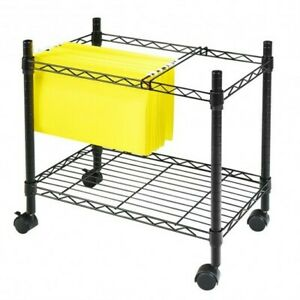 Metal Rolling File Cart For Folder Storage black