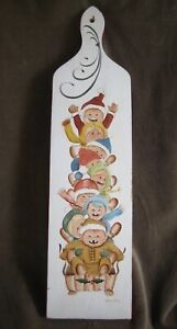 Tole Painted Wooden Paddle Holiday Wall Decor Children Sleigh Toleware Signed
