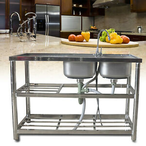 Commercial 304 Stainless Steel Sink Kitchen Handmade Wash Table 2 Bowls W tap