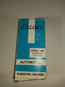 Vtg Ertan Model 188 Automatic Numbering Machine 6 Wheels 7 Actions Used W box