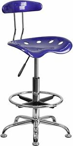 Adjustable High Stool Tractor Seat Foot Rest Comfort Chair Office Kitchen Bar
