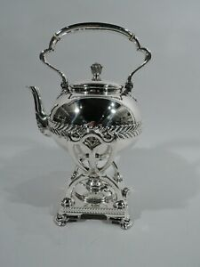 Tiffany Kettle Stand 3448 Wave Edge Tea Water American Sterling Silver